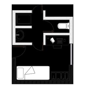 Habitación Individual Baño Compartido - Resa